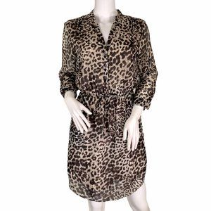 Vince Camuto Animal Print Ruched Waist Dress 4